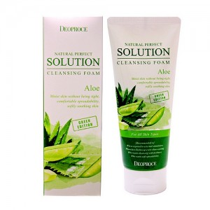 Пенка для умывания с Алое Deoproce NATURAL PERFECT SOLUTION CLEANSING FOAM ALOE